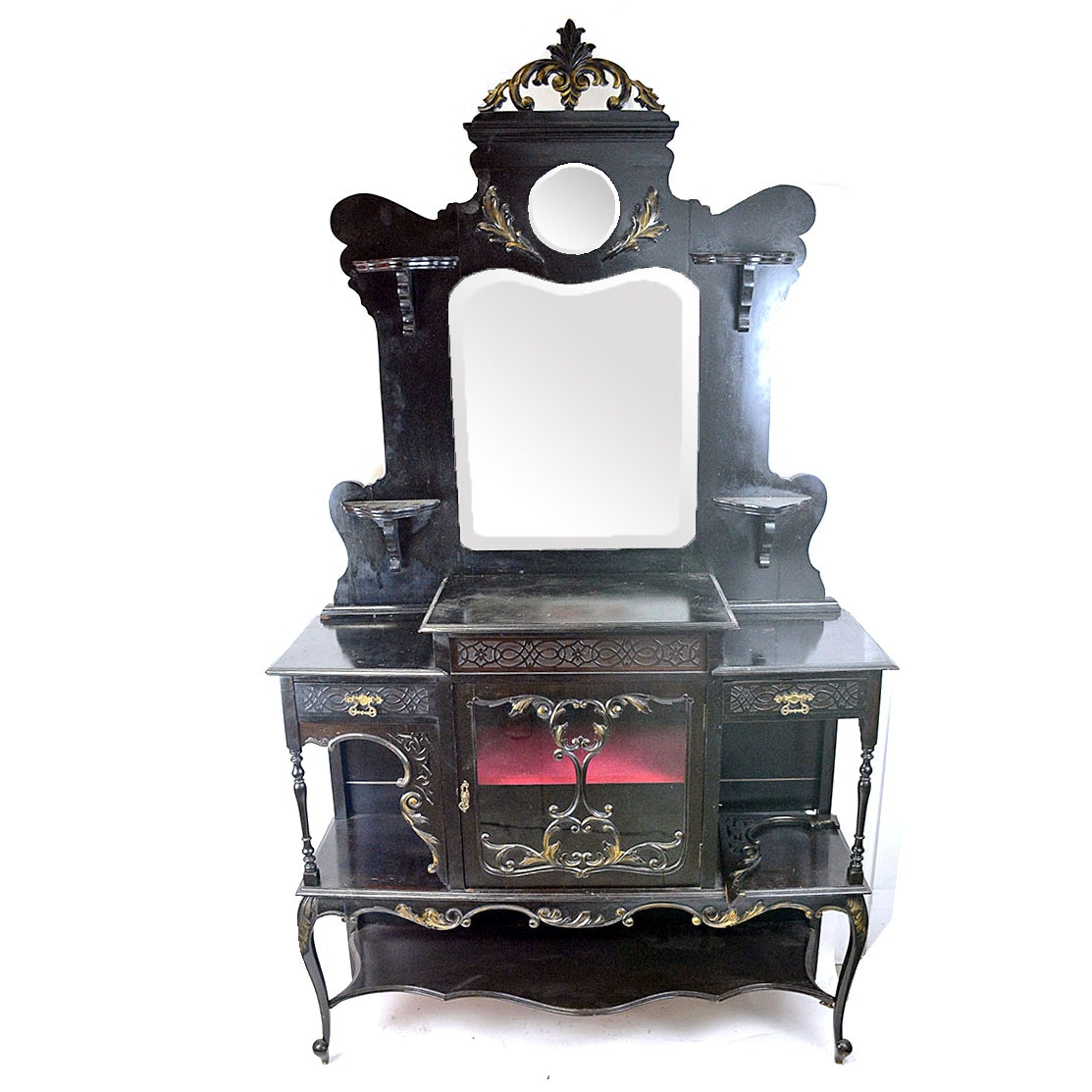 Antique Rococo Serving Table with Mirrored Mantel