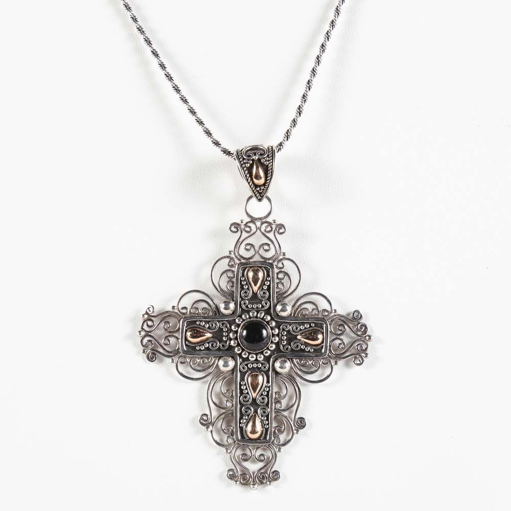 Sterling Silver and 18K Gold Filigree Cross Necklace