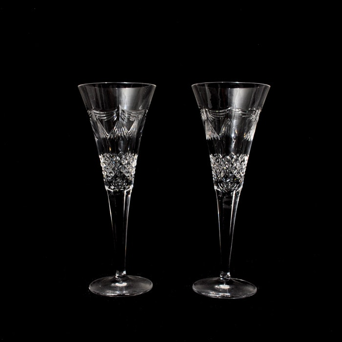 """Pair of Waterford Crystal """"Millenium Peace Toast"""" Champagne Flutes"""