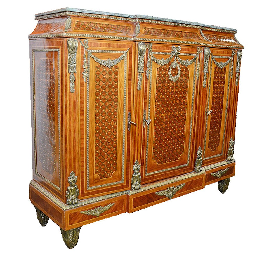 Inlaid Liquor Cabinet With Marble Top