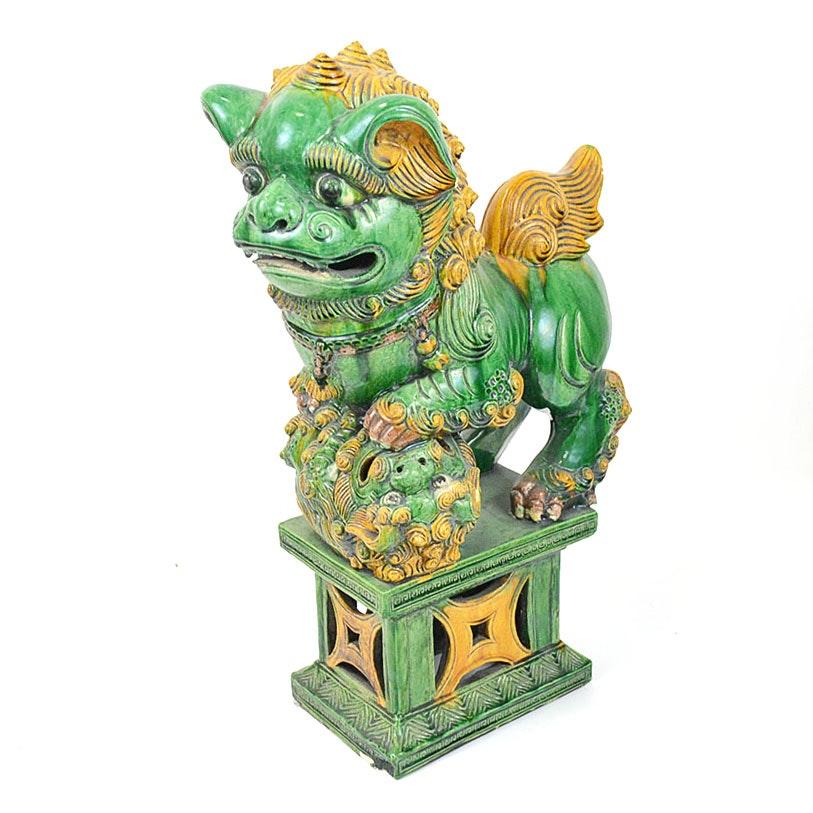 Antique Large Hand-Painted Guardian Lion Ceramic Figurine