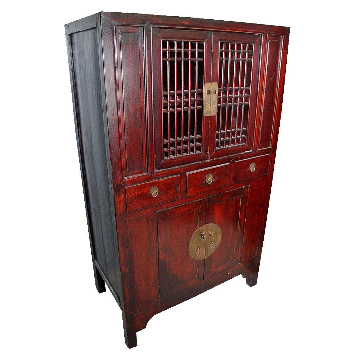 Antique Chinese Lattice Front Cabinet