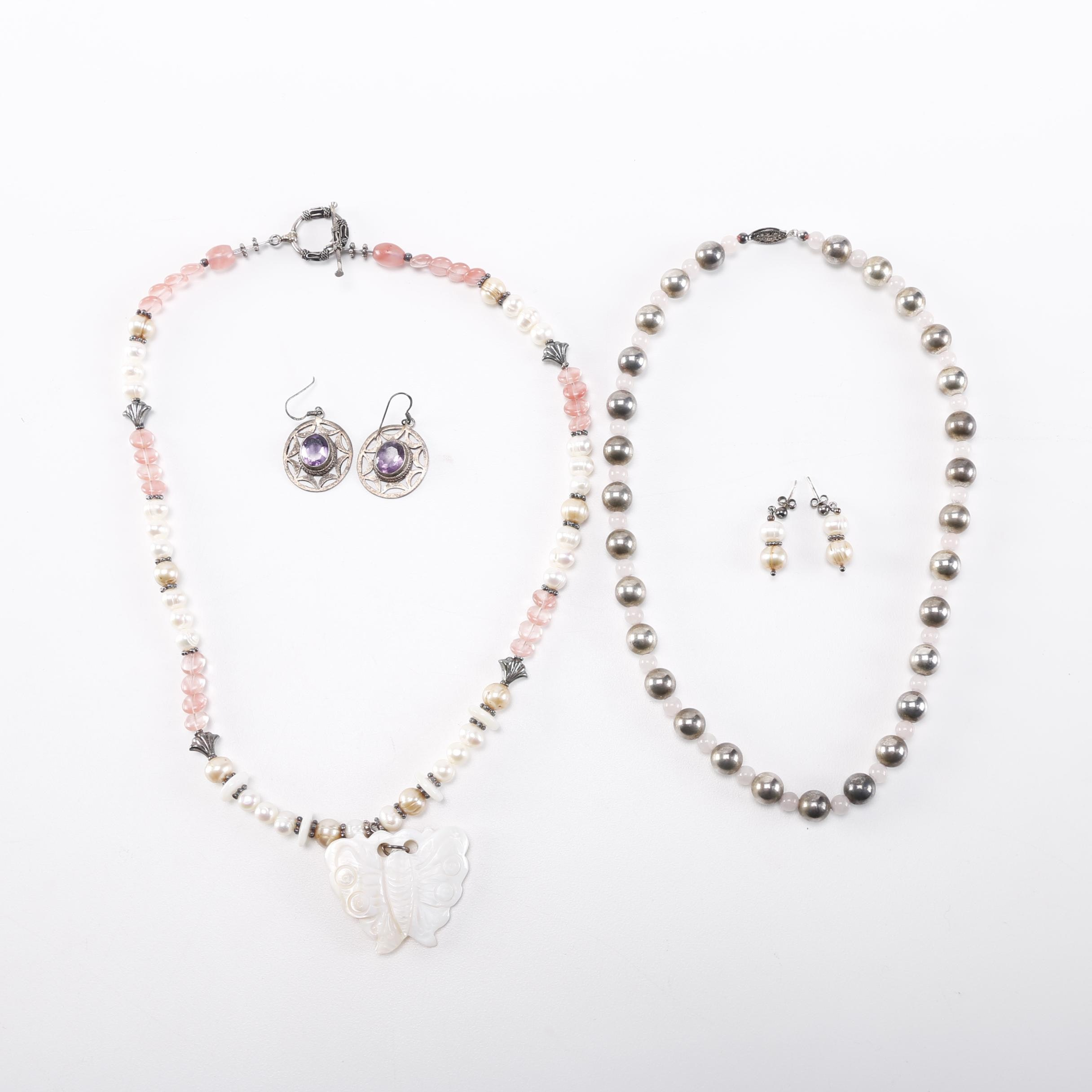 Sterling Silver Jewelry with Pearls and Stones
