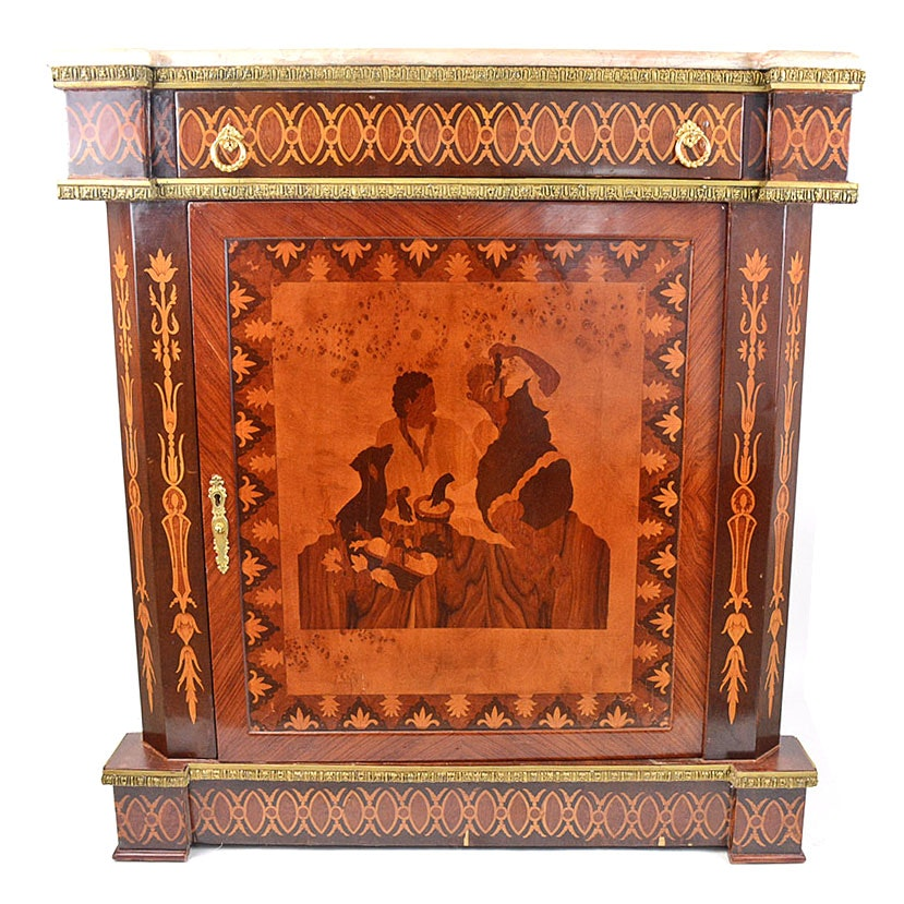Parquetry Mahogany Dry Bar with Marble Top