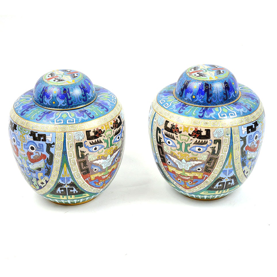 Pair of Chinese Cloisonné Enamel Urn with Lid