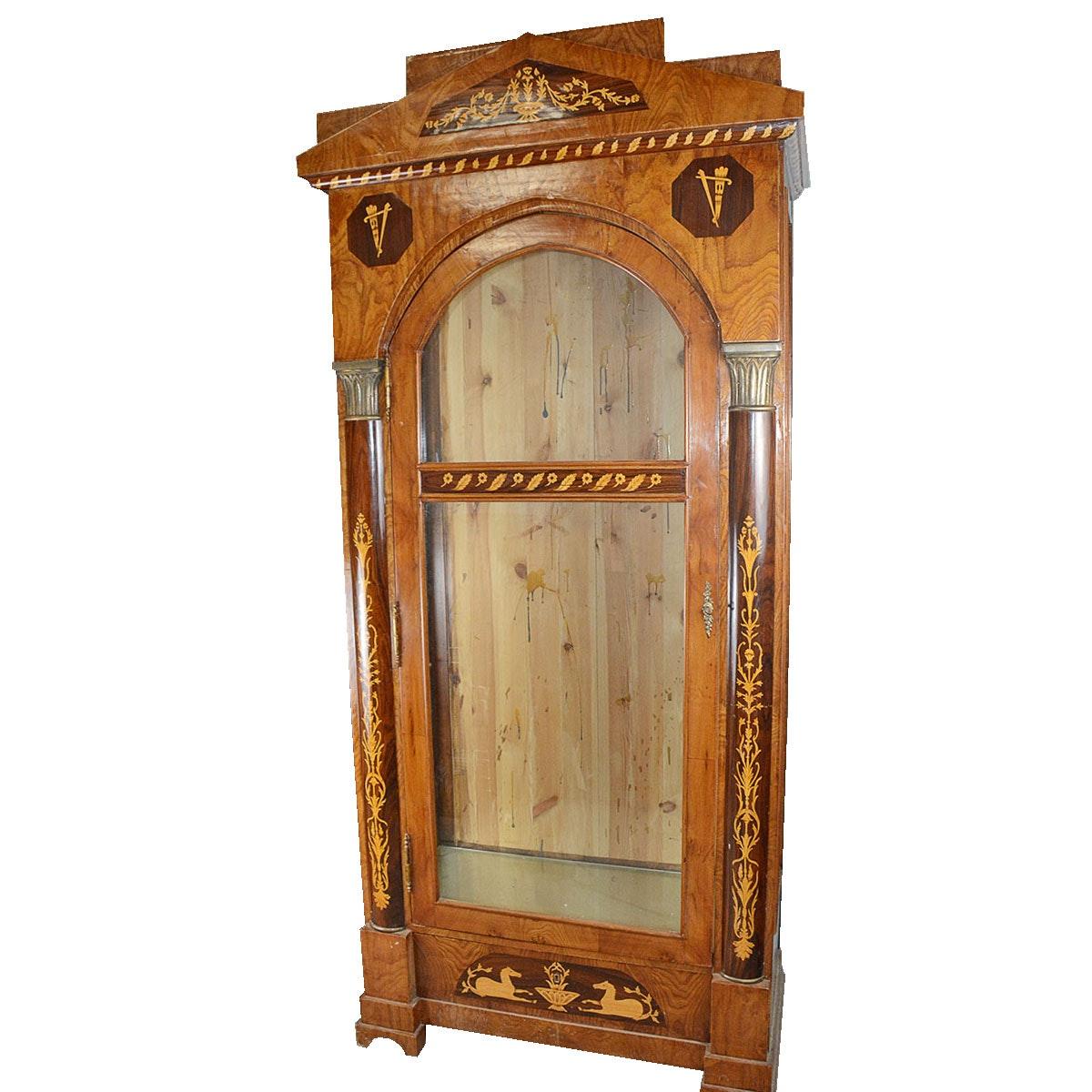 Large Biedermeier Style Curio Cabinet