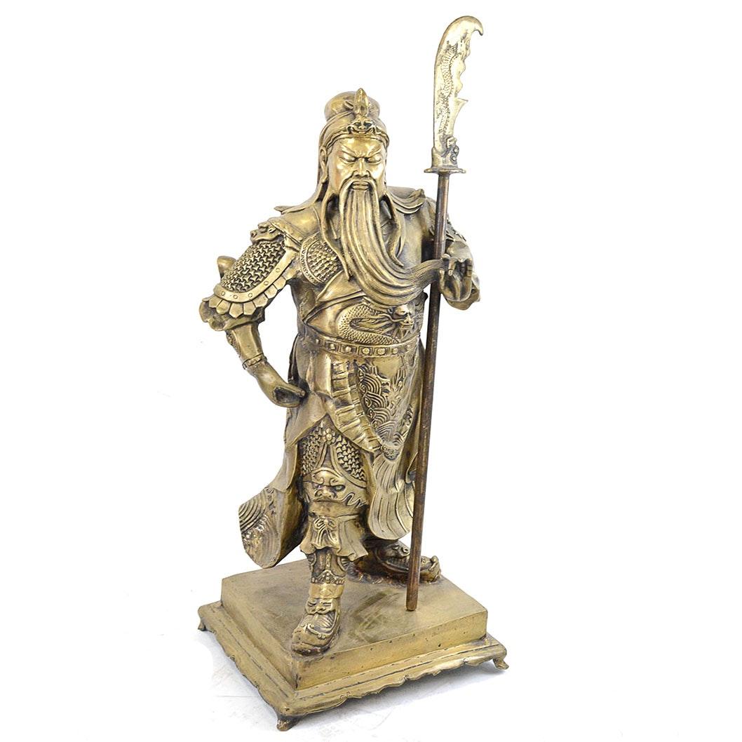 Antique Brass Statue of Chinese Warrior Guan Yu