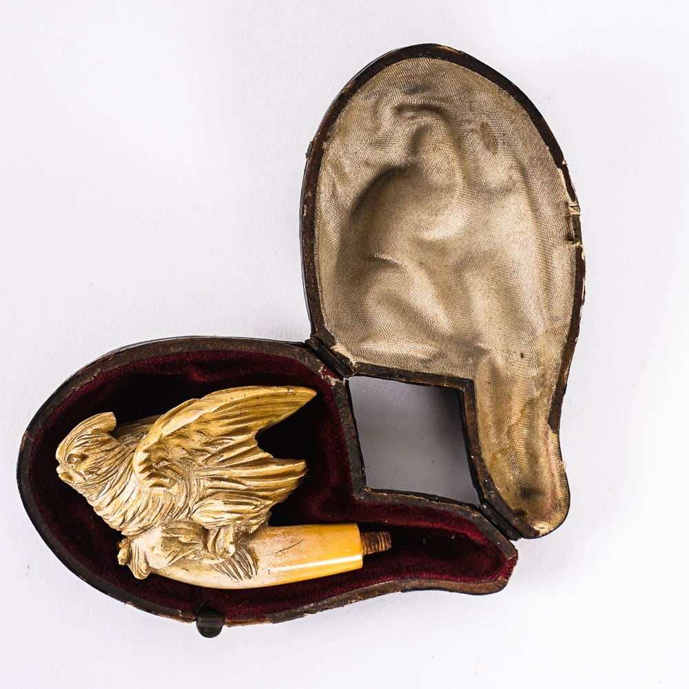Hand Carved Meerschaum Pipe With Case