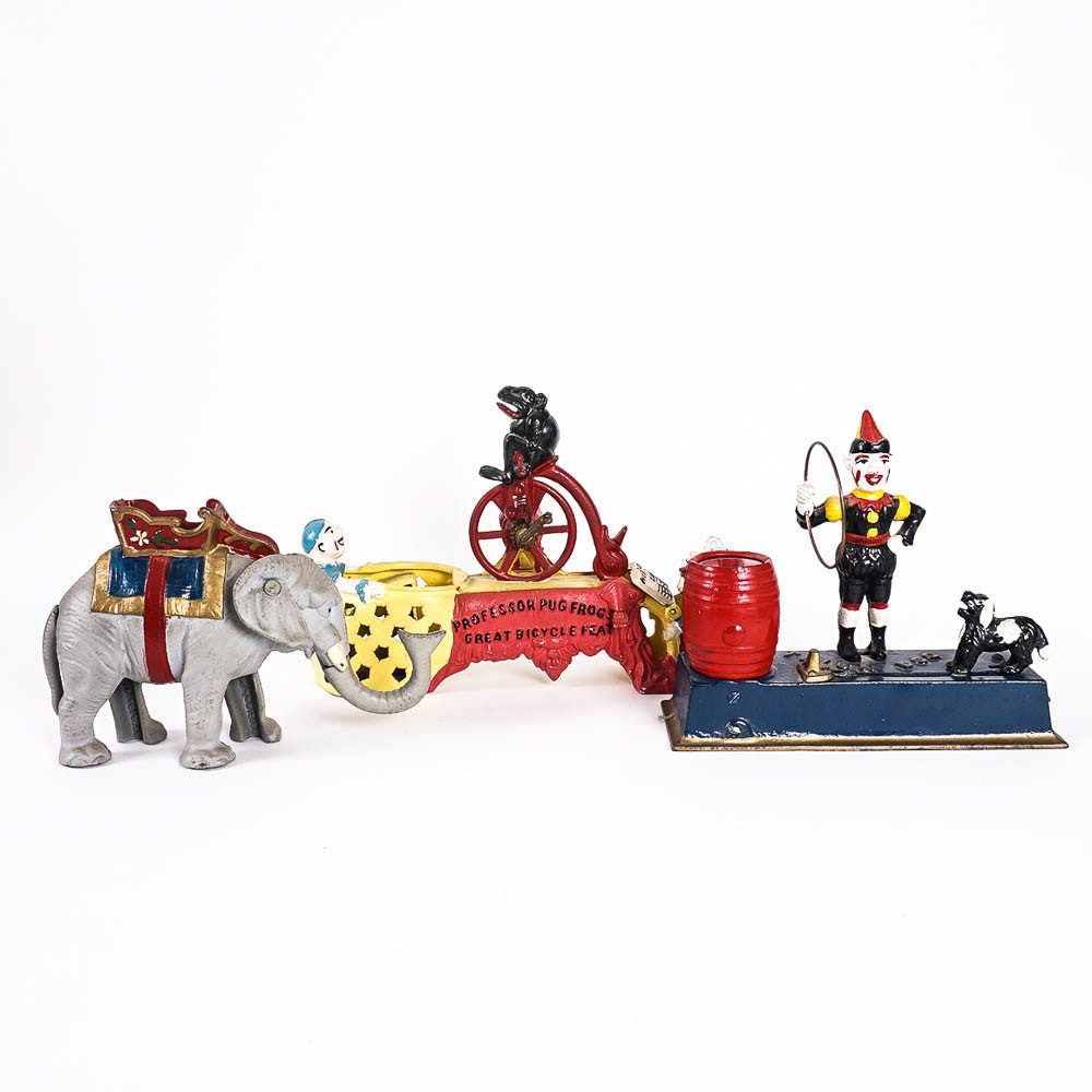 Reproduction Cast Iron Circus Coin Banks