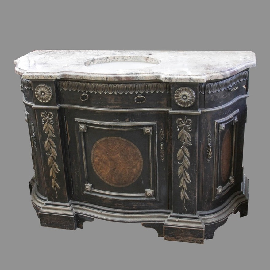 Neoclassical Style Granite Top Bathroom Vanity With Kohler