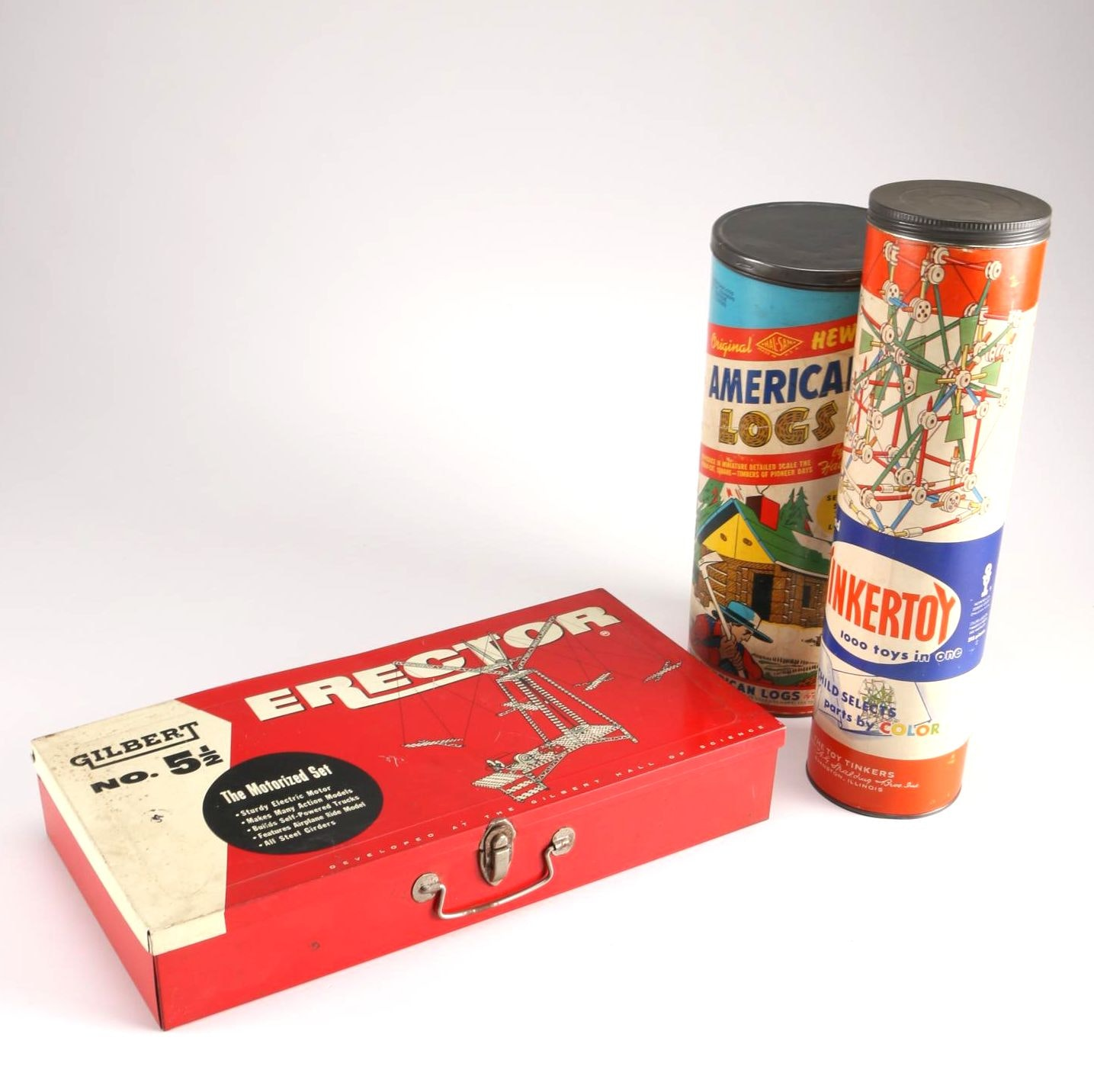 Tinkertoy and American Log Sets with Metal Case