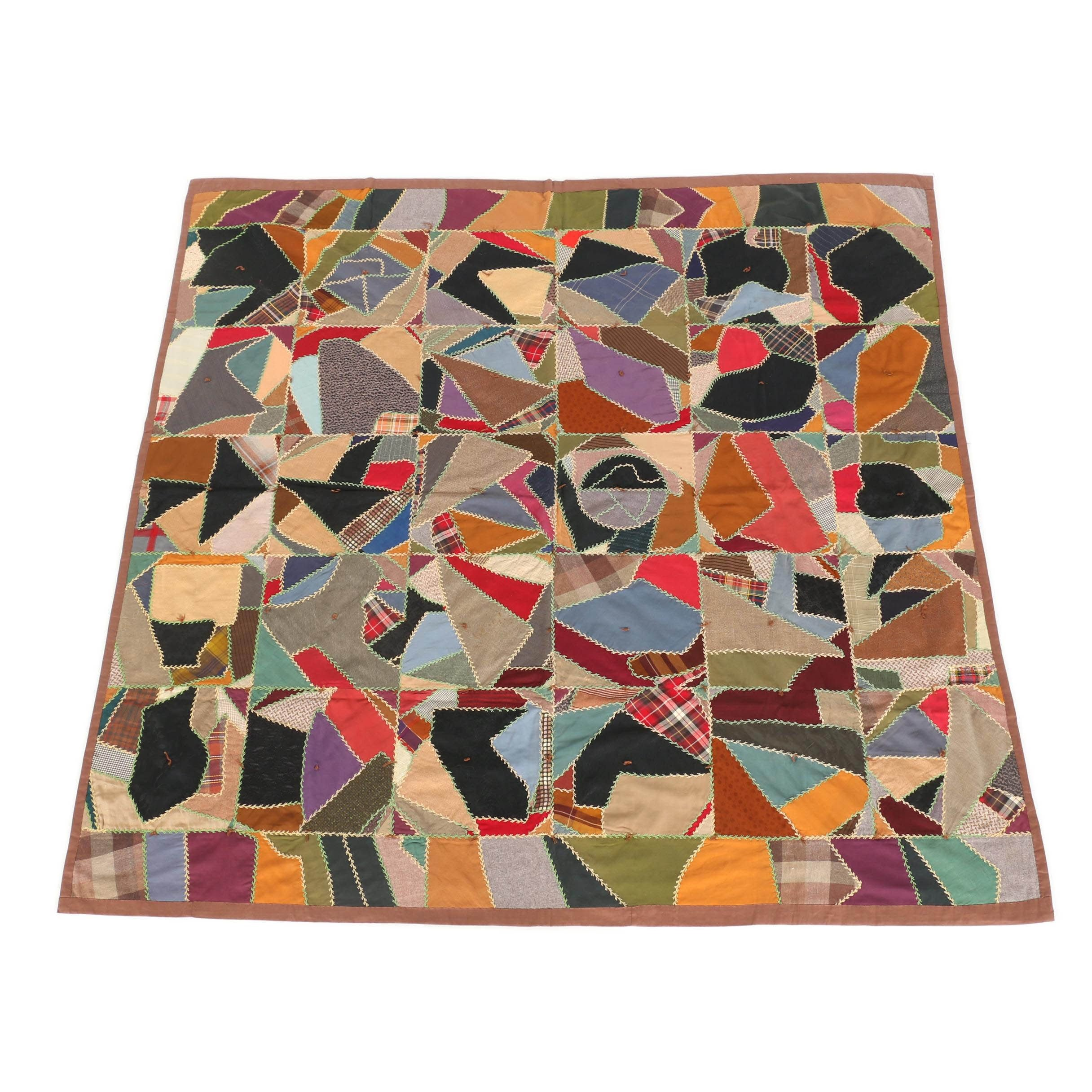 Semi-Antique Hand Embroidered Crazy Quilt