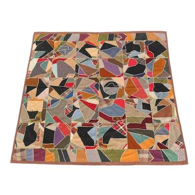 Semi-Antique Hand Embroidered Crazy Quilt