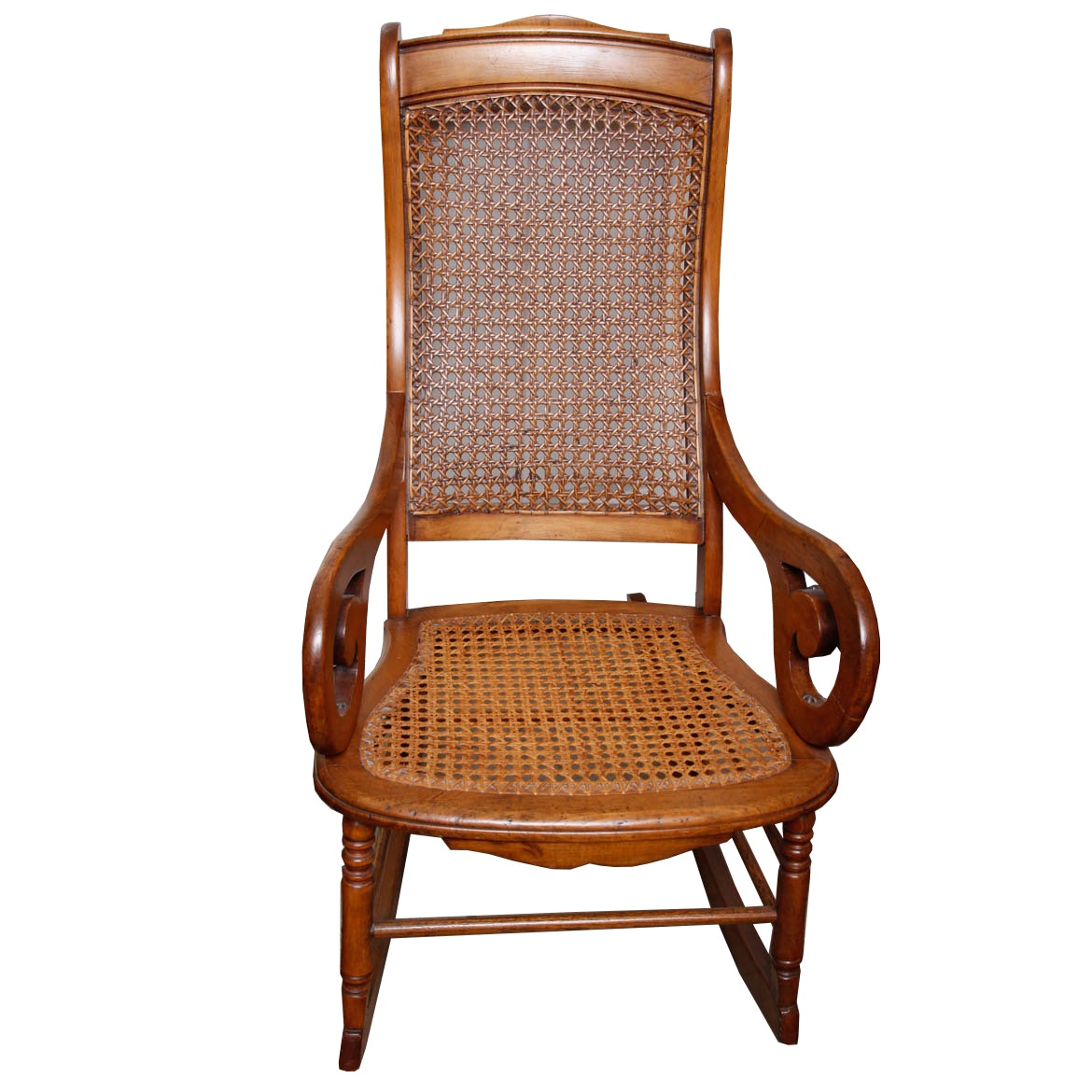 Late 19th Century Victorian Caned Rocking Chair