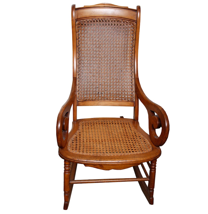 Victorian rocking chair - Late 19th Century Victorian Caned Rocking Chair