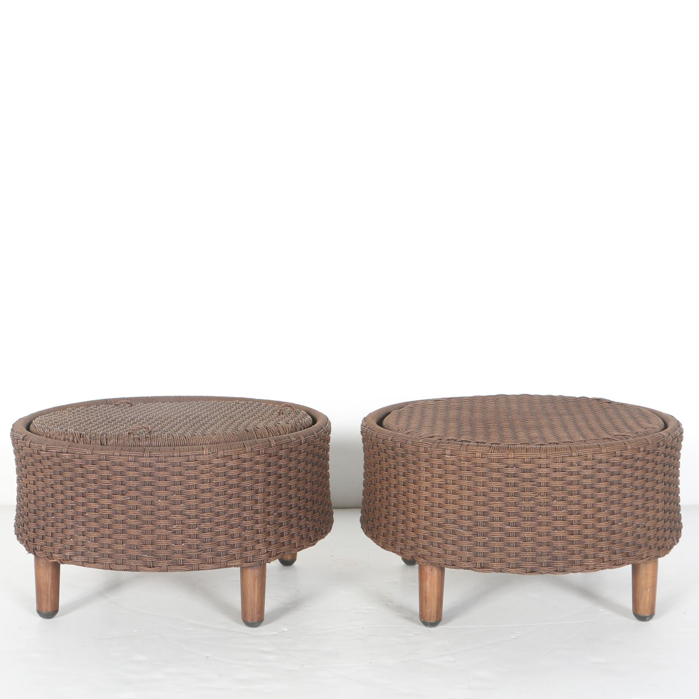 Pair of Brown Woven Foot Stools