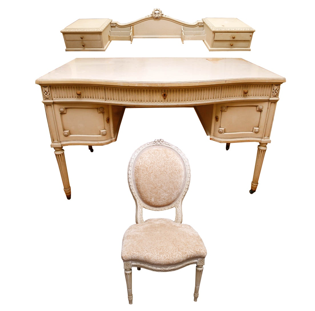 Vintage Louis Xvi Style Desk And Chair By Tobey Furniture