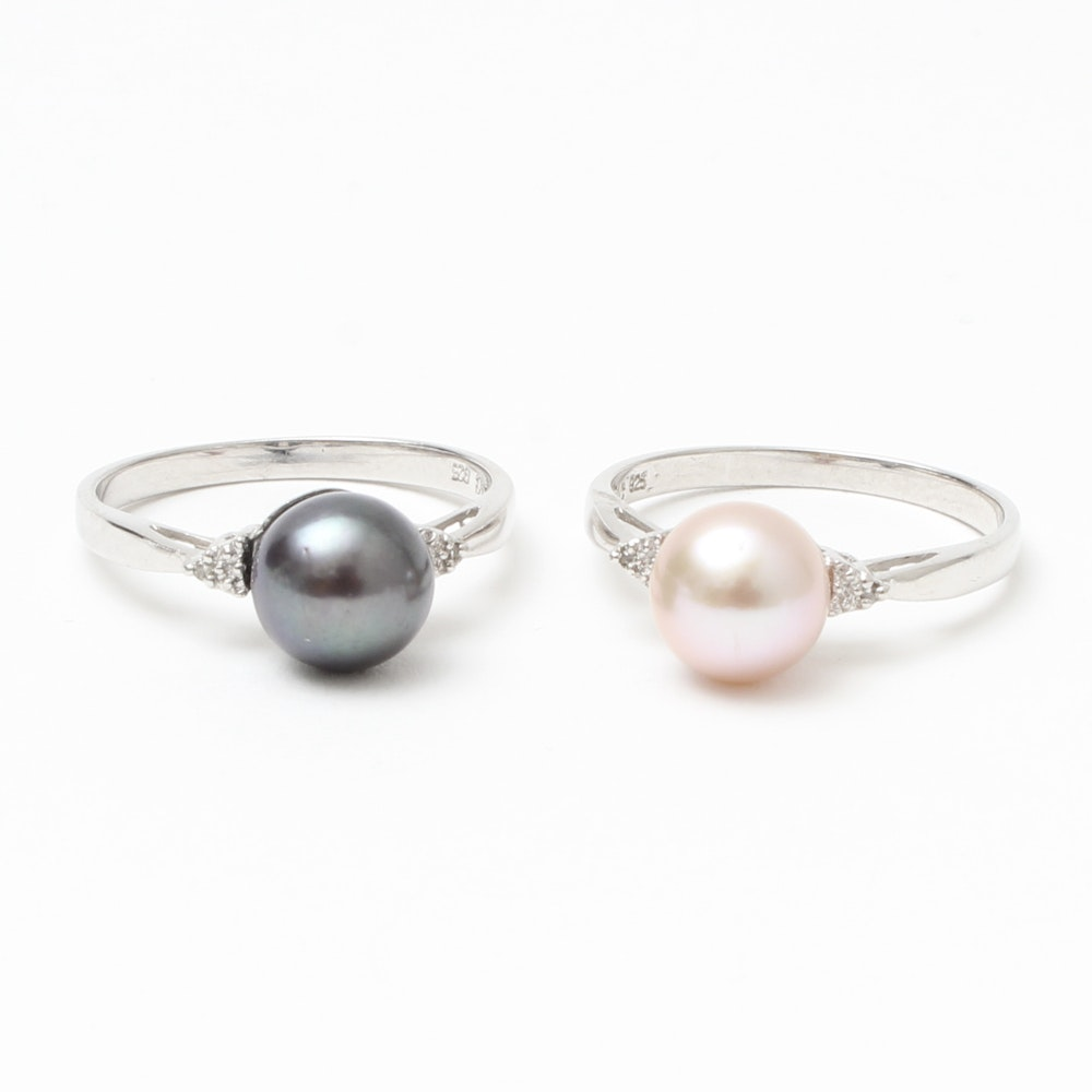 Set of Two Diamond and Cultured Pearl Rings