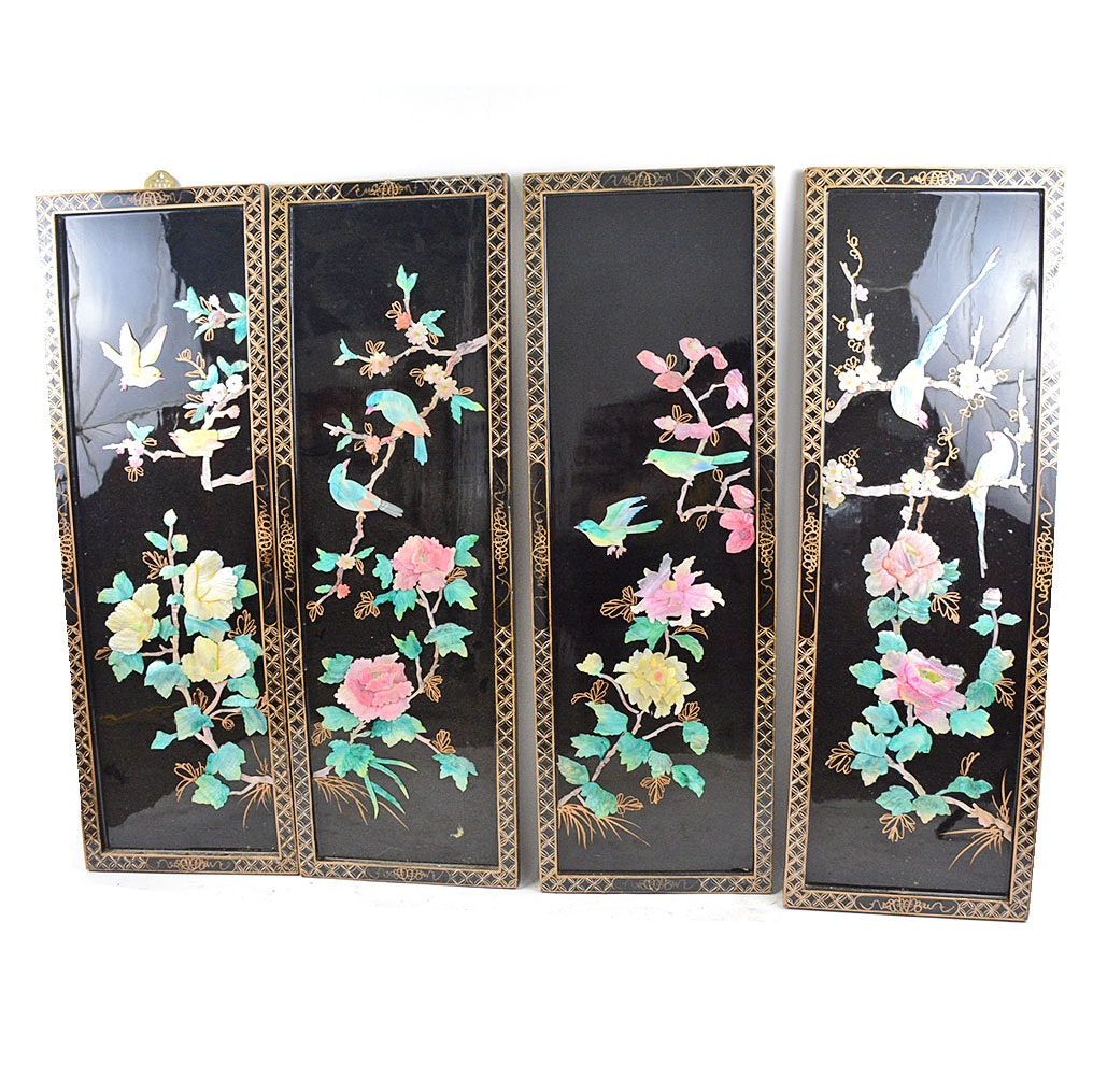 Set of Four Chinese Mother of Pearl Bird and Flower Panels