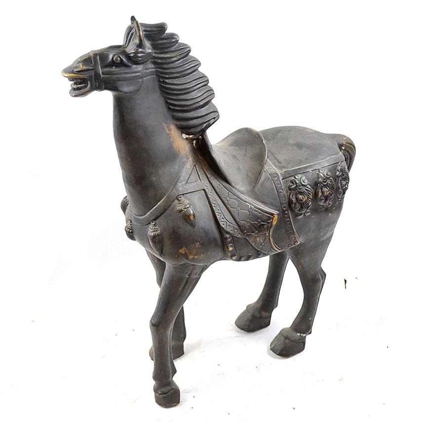 Bronze Black Trojan Horse Sculpture