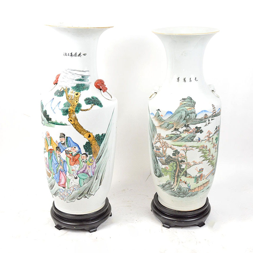 Pair of Hand-Painted Chinese Vases