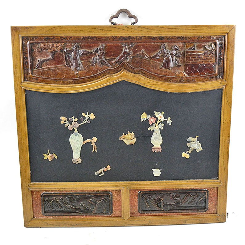 Chinese Panel With Applied Carved Vases