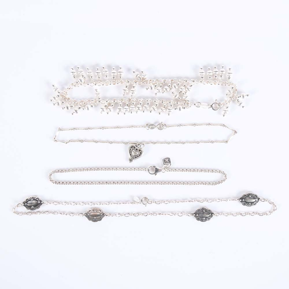 Sterling Silver Anklets and Necklaces