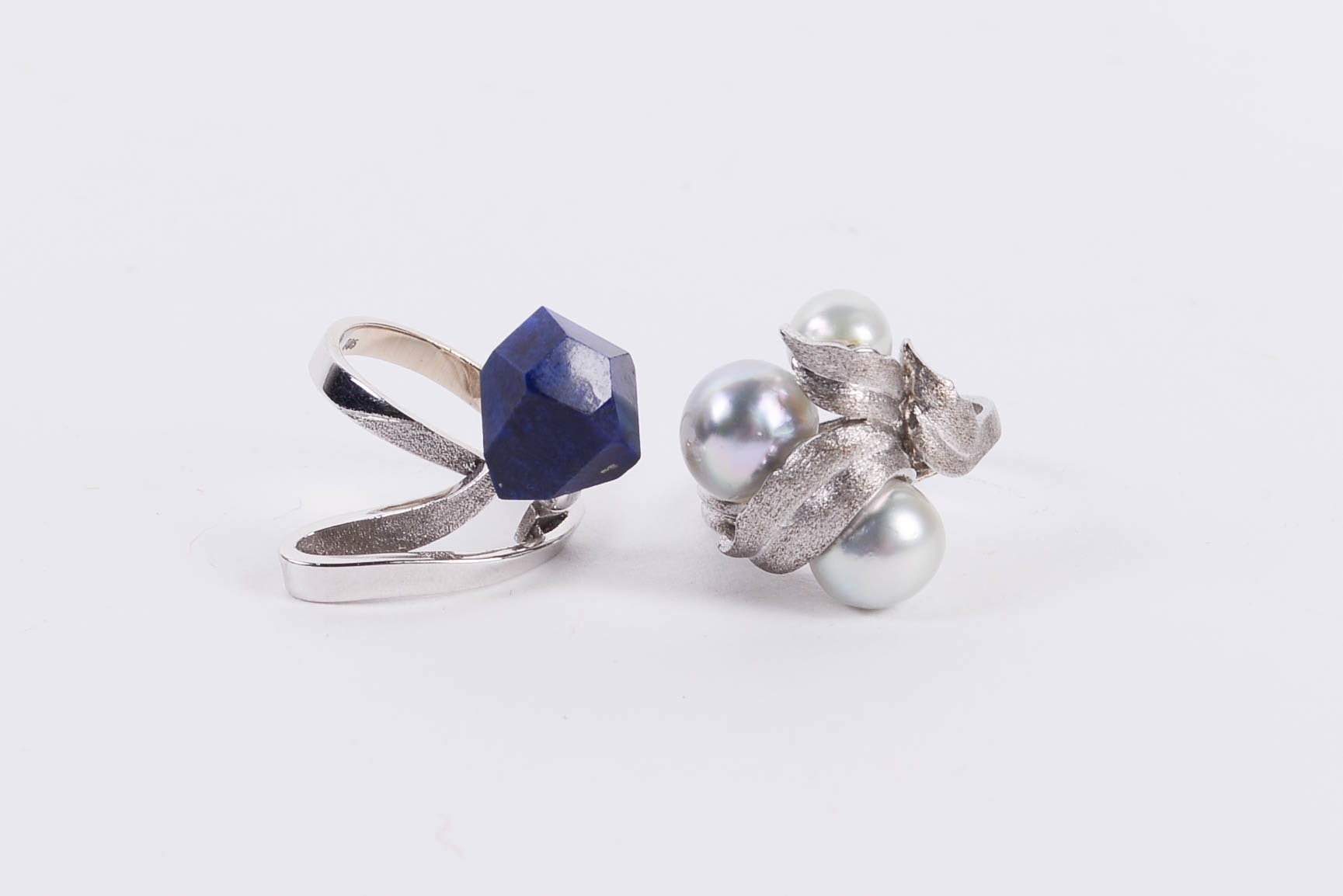 Sterling Silver Ring with Freshwater Pearls and 14K White Gold Ring with Lapis Lazuli