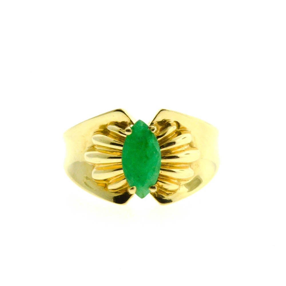 14K Yellow Gold Marquise Cut 0.96 CT Emerald Ring