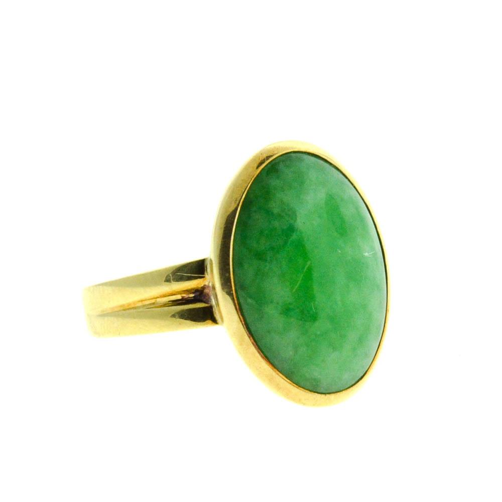 14K Yellow Gold Cabochon Jadeite Ring