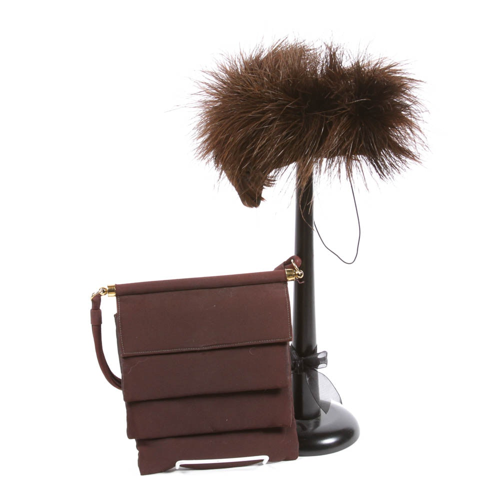 Brown Handbag and Feather Hat with Hat Stand