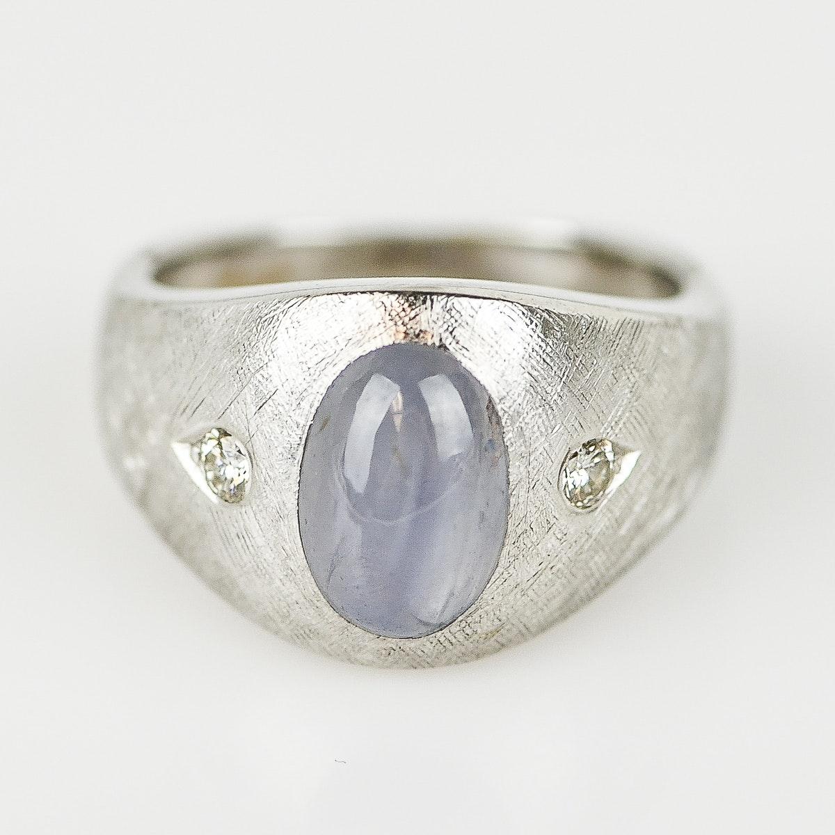 Women's 14K White Gold Star Sapphire and Diamond Ring