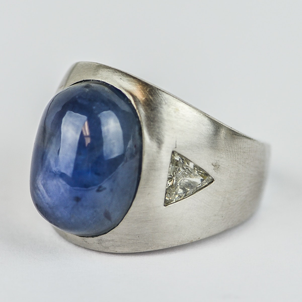 Men's 18K White Gold, Star Sapphire, and 1.00 CTW Diamond Ring