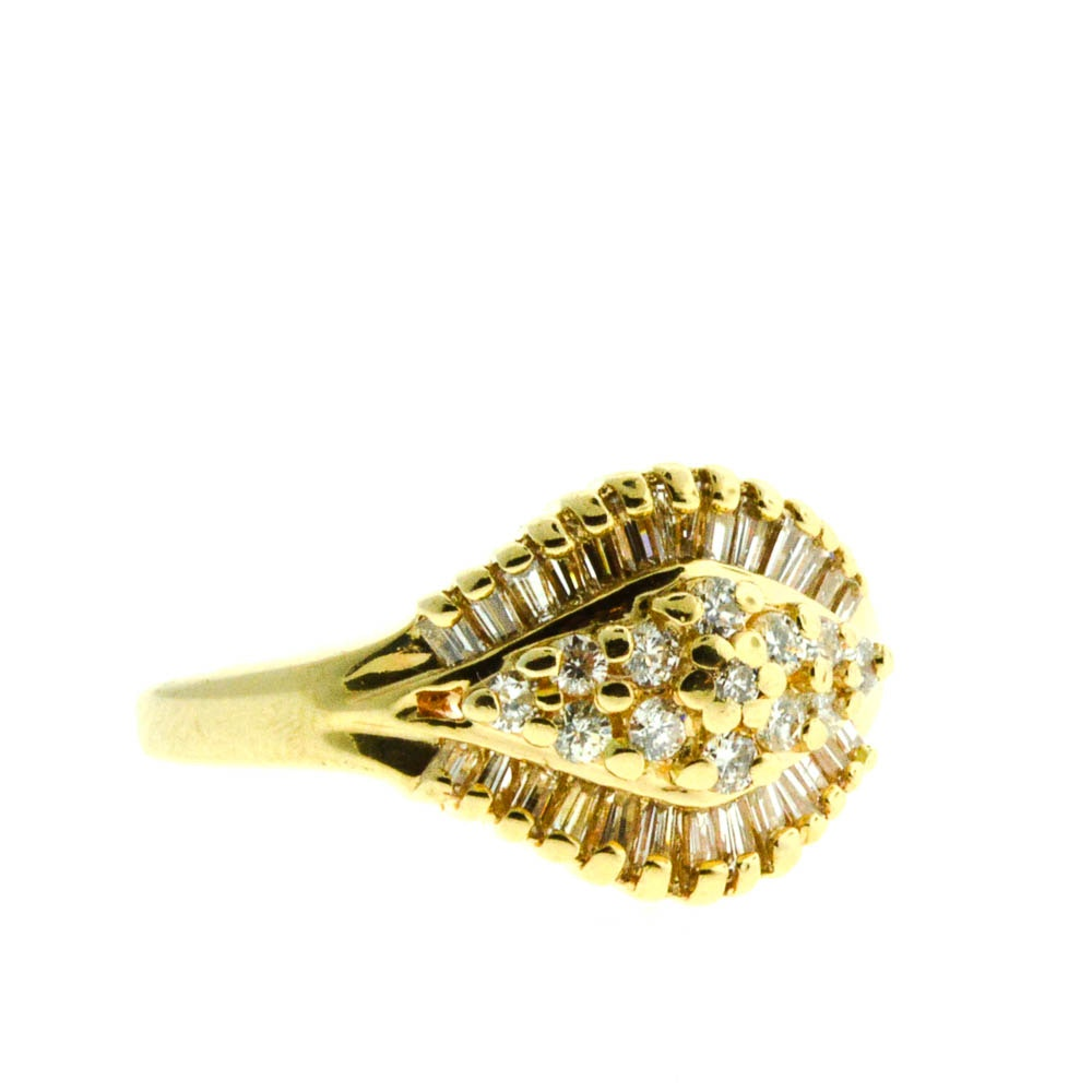 14K Yellow Gold Diamond Baguette and Cluster Cocktail Ring