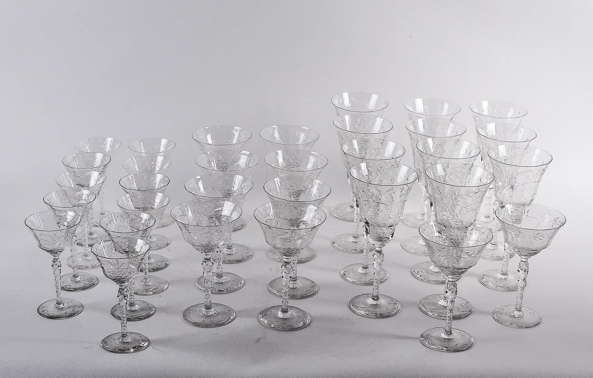 Collection of Elegant Depression Glass Stemware