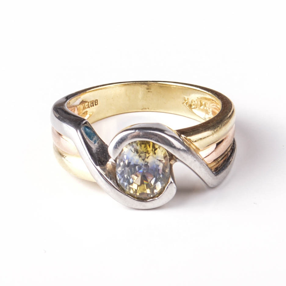 18K Gold Tri-Color Ring With Yellow Sapphire