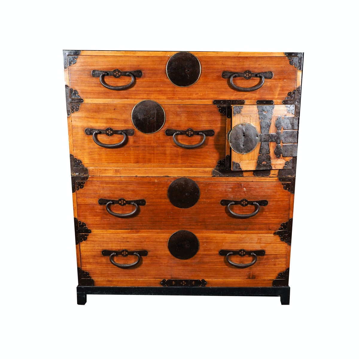 Circa 1900 Japanese Tansu Chest on Chest in Cypress Wood and Pine