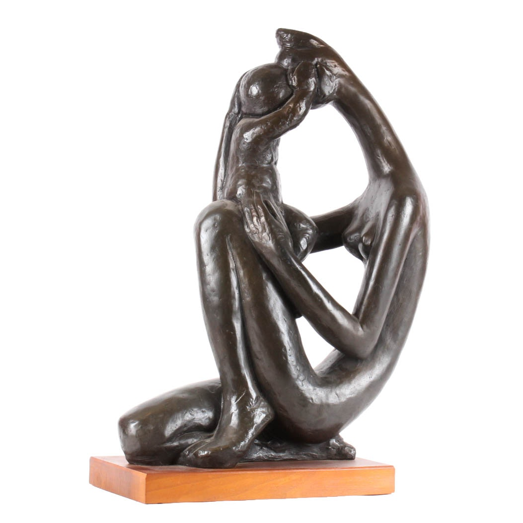 Austin Prod Inc. Cast Bronze Sculpture of Mother and Child