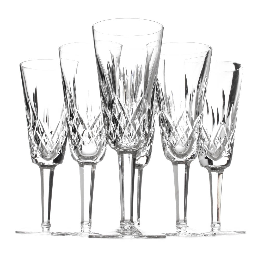 "Waterford Crystal ""Lismore"" Pattern Champagne Flutes"