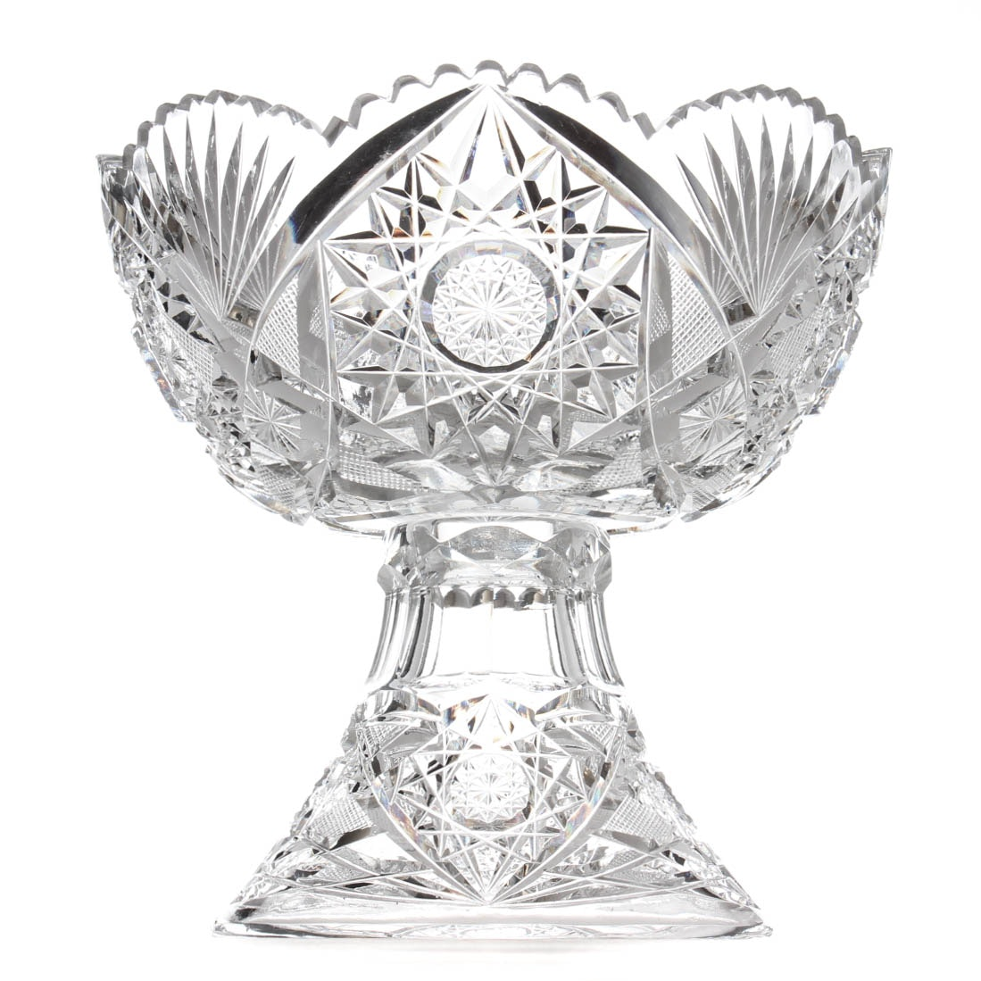 American Brilliant Period Glass Eggnog Bowl