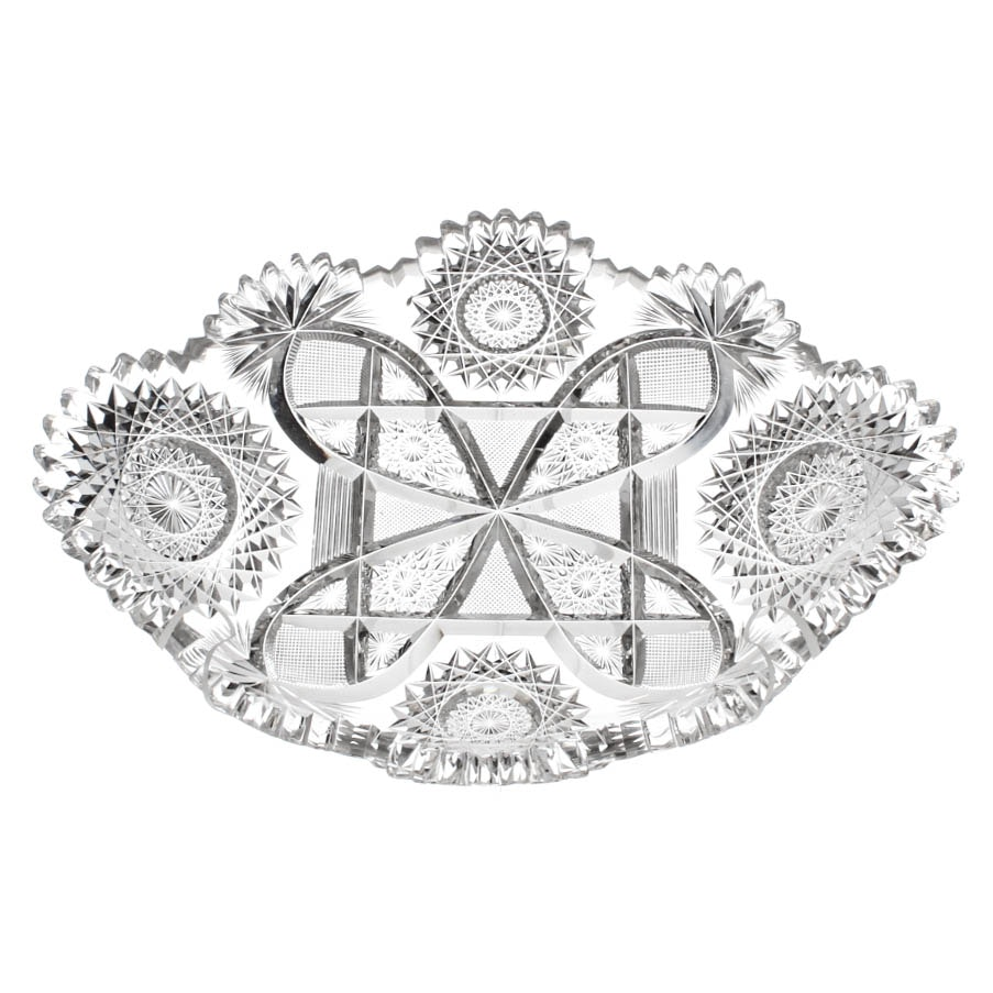 American Brilliant Period Glass Relish Dish