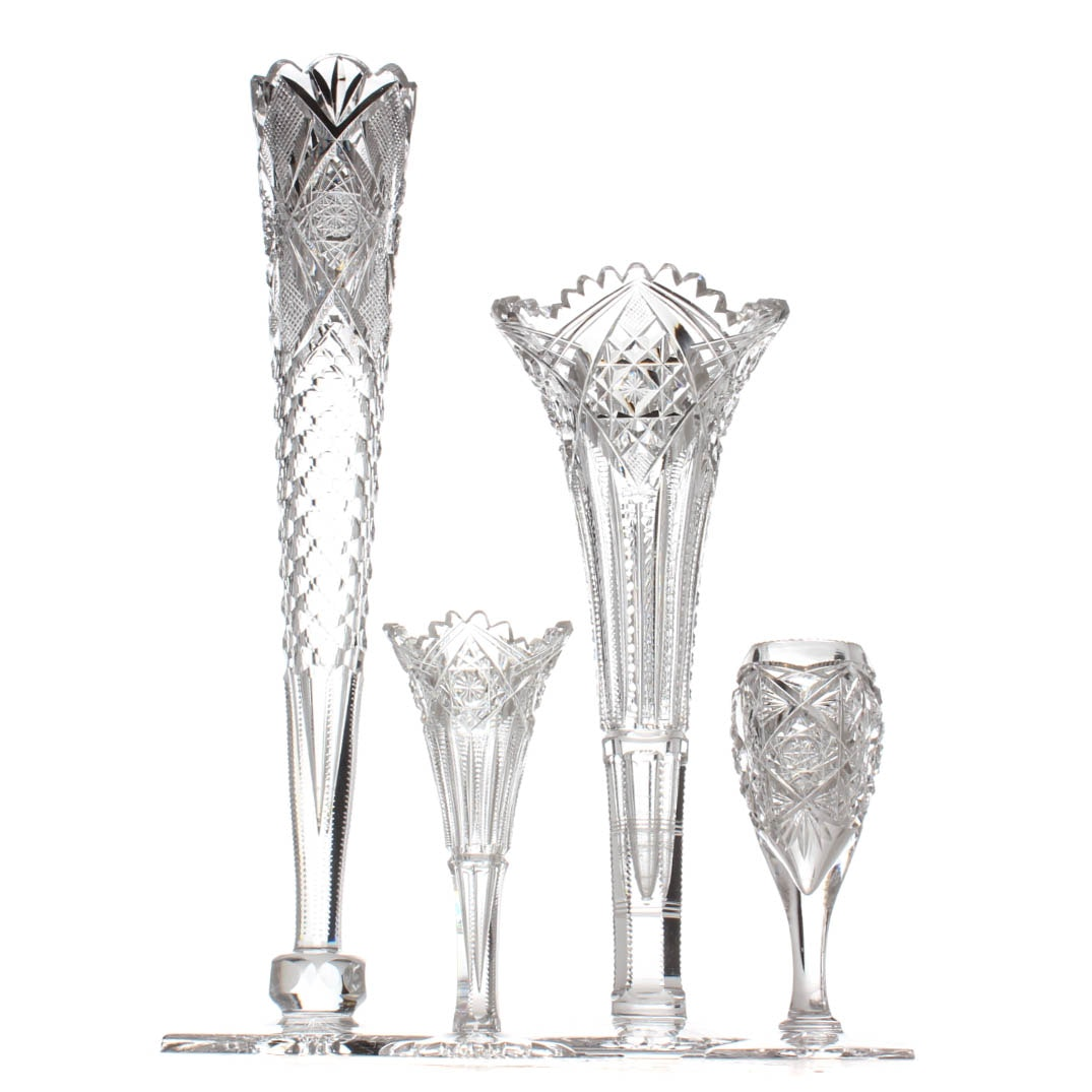 American Brilliant Style Cut Glass Vases Featuring J. Hoare