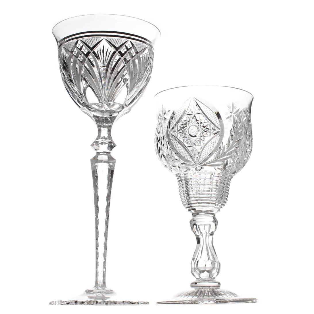 American Brilliant Period Style Cut Glass Compotes