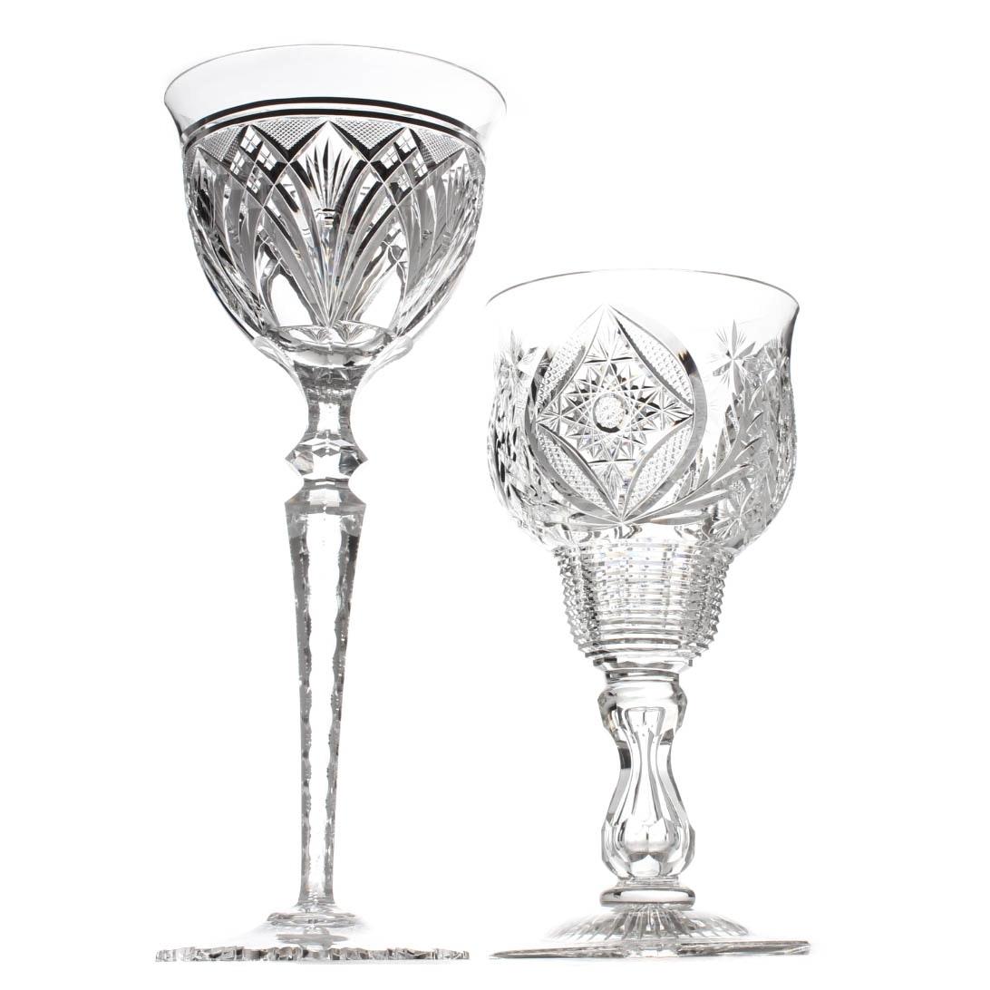 American Brilliant Period Style Cut Glass Compotes