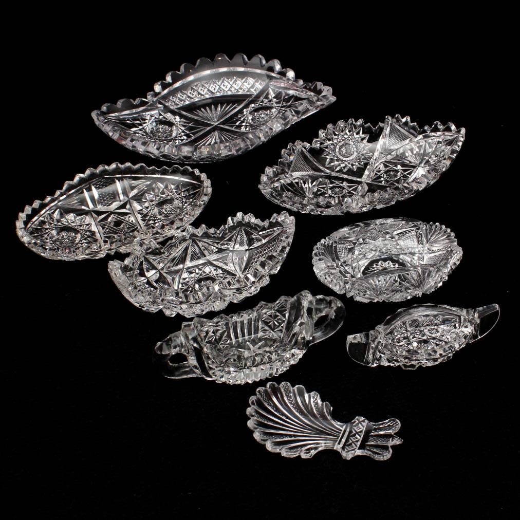 ABP Style Cut Glass Trinket Dishes Featuring Hawkes