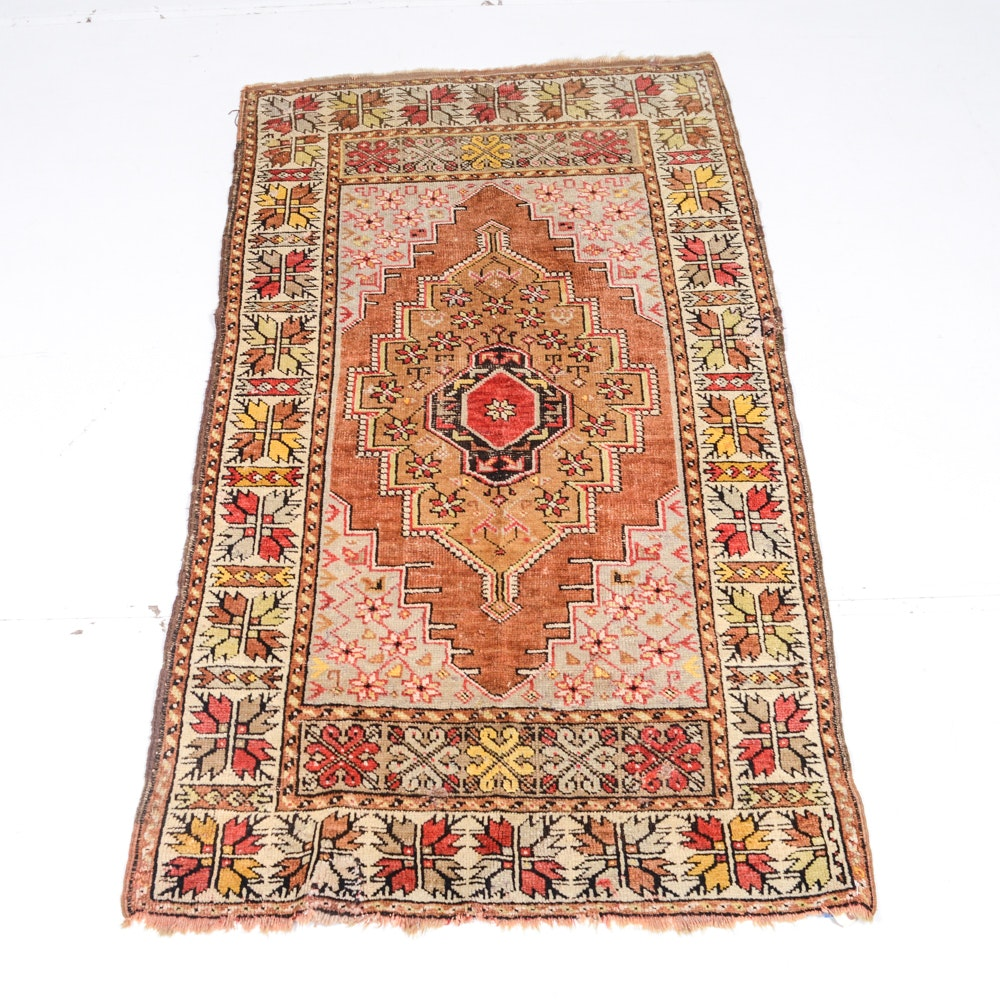 Hand Knotted Antique Turkish Accent Rug
