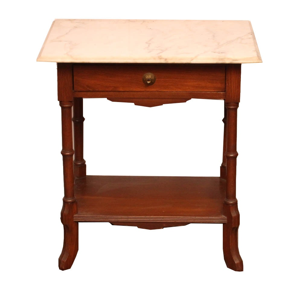 Eastlake Influenced Marble Top Side Table