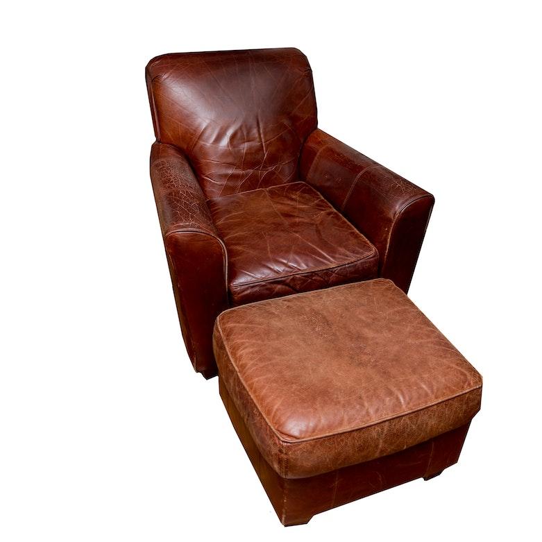 Bauhaus U S A Leather Chair And Ottoman Ebth