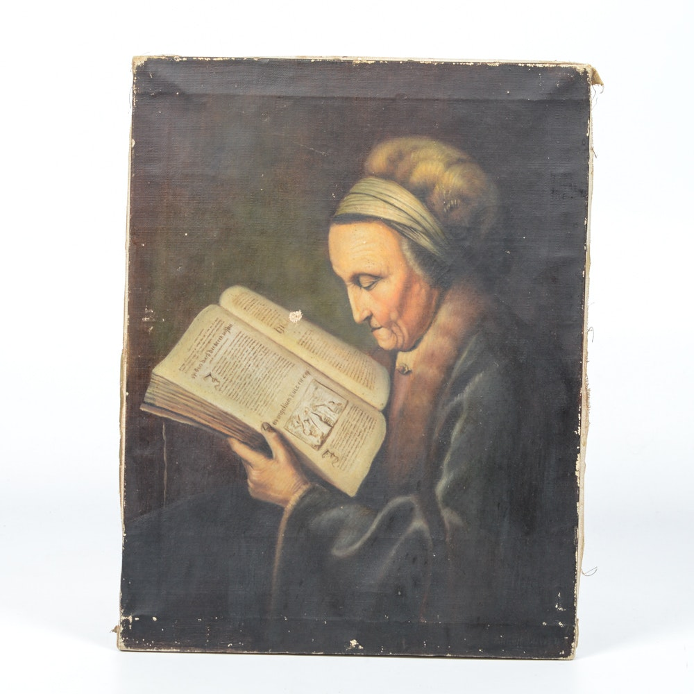 "Copy of ""Old Woman Reading"" After Gerard Dou"