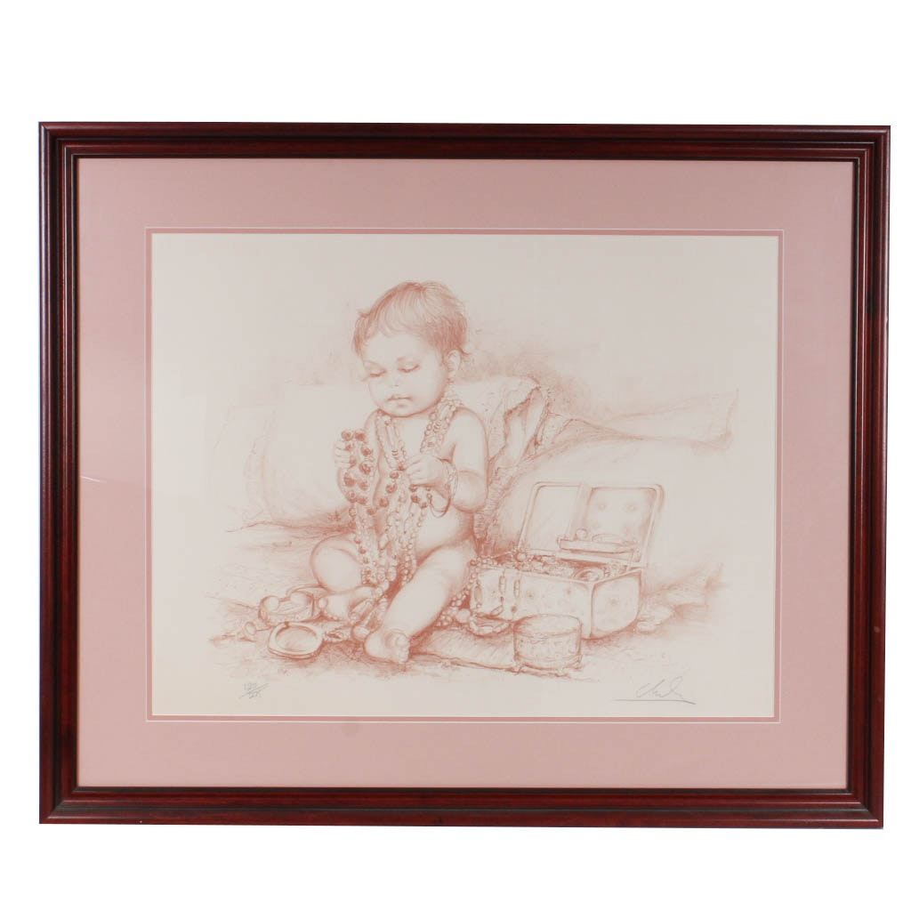 Limited Edition Signed Lithograph Depicting Child